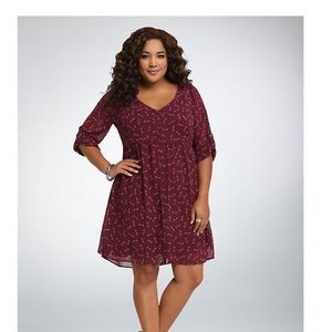 Torrid Burgundy Arrowprint Chiffon Shirt Dress, 2x